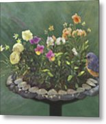 Pansies And Bluebird Metal Print