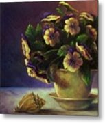 Pansies And Celadon Metal Print