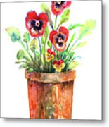 Pansies In A Clay Pot Metal Print