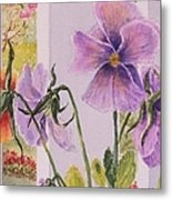 Pansies On My Porch Metal Print