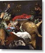 Pantry Scene With Servant By Frans Snyders Metal Print