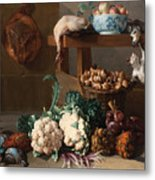 Pantry With Artichokes Cauliflowers And A Basket Of Mushrooms Metal Print