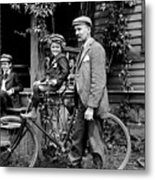 Papa With Charles On Bicycle, Fred On Porch Metal Print