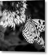 Paper Kite In Black And White Metal Print