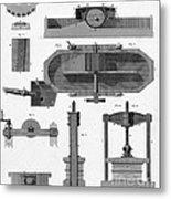 Paper Mill Diagram, 1814 Metal Print