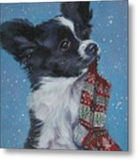 Papillon Puppy With Xmas Stocking Metal Print