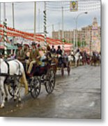 Parade Of Horse Drawn Carriages On Antonio Bienvenida Street Wit Metal Print