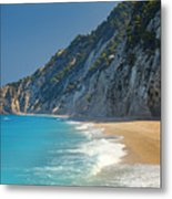 Paradise Beach With Blue Waters Metal Print
