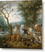 Paradise Landscape With Animals Metal Print