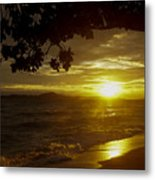 Paradise Lensflare Beach Sunset #9412 Metal Print