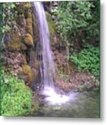 Waterfall In Spring Paradise Cove Winslow Illinois Metal Print