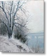 Paradise Point Bridge Winter Metal Print