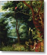 Paradise Scene With Adam And Eve Metal Print