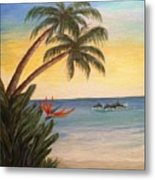 Paradise With Dolphins Metal Print