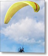 Paraglider Floating In The Clouds Metal Print