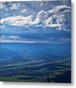 Paragliding Above Jackson Hole Metal Print