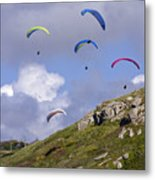 Paragliding Over Sennen Cove Metal Print