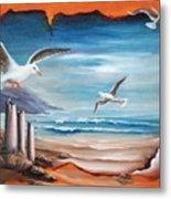 Parchment Seascape Metal Print by Joni McPherson