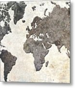 Parchment World Map Metal Print