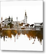 Pardubice Skyline City Brown Metal Print