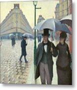 Paris A Rainy Day - Gustave Caillebotte Metal Print