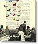 Inside Of A French Bistro At Paris And Rainbow Butterflies Metal Print