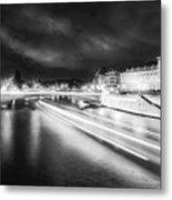 Paris At Night 19 Bw Art  Metal Print