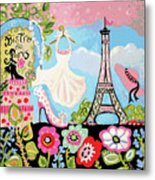 Paris Bistro Dress  Metal Print