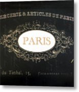 Paris Black And White Gold Typography Home Decor - French Script Paris Wall Art Home Decor Metal Print