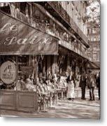 Paris Cafe 1935 Sepia Metal Print