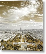 Paris City View 20 Sepia Metal Print
