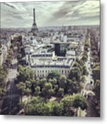 Paris Cityscape From Above, France Metal Print