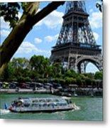 Paris Eiffel Boat Metal Print