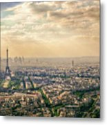 Paris Eiffel Skyline And Cityscape Aerial View At Sunset From Montparnasse Tower Observation Deck  Metal Print