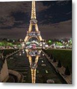 Paris Eiffel Tower Dazzling At Night Metal Print