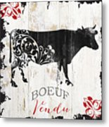 Paris Farm Sign Cow Metal Print