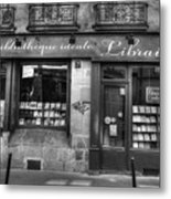 Paris France Book Store Library Black And White Metal Print