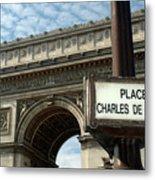 Paris France. Larc De Triomphe On Place Charles De Gaulle Metal Print
