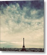 Paris, France Skyline With Eiffel Tower. Dark Clouds, Vintage Metal Print