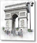 Paris, France  Triumphal Arch  Illustration Metal Print