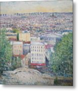 Paris From The Basilique Du Sacre Coeur Montmartre France 2003  Metal Print