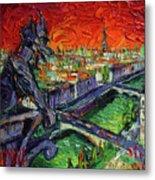 Paris Gargoyle Contemplation Textural Impressionist Stylized Cityscape Metal Print