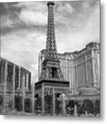 Paris Hotel - Las Vegas B-w Metal Print