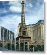 Paris Hotel And Bellagio Fountains Metal Print