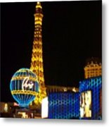 Paris Hotel At Night Metal Print
