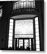 Paris Louis Vuitton Boutique - Louis Vuitton Paris Black And White Art Deco Metal Print