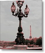 Paris Luminaires And Eiffel Tower Metal Print