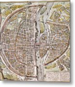 Paris Map, 1581 Metal Print
