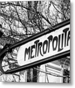 Paris Metro Sign Bw Metal Print