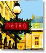 Paris Metro Stop Metal Print